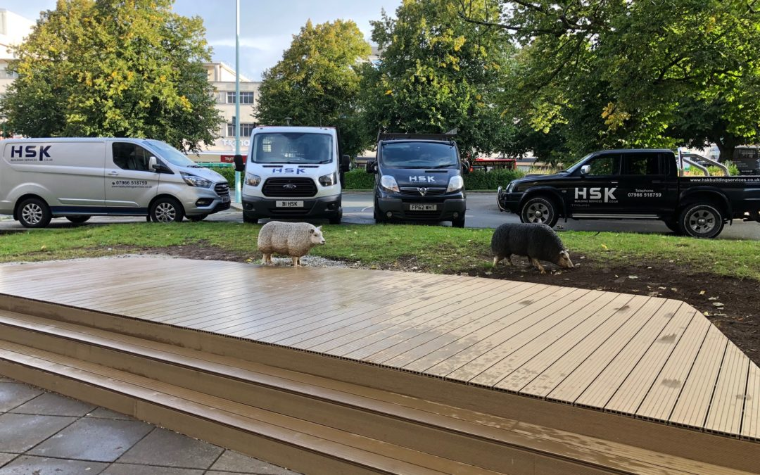 New composite, non slip decking for outdoor seating at The Treasury Bar