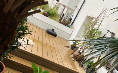 Composite non slip decking with built in spot lights